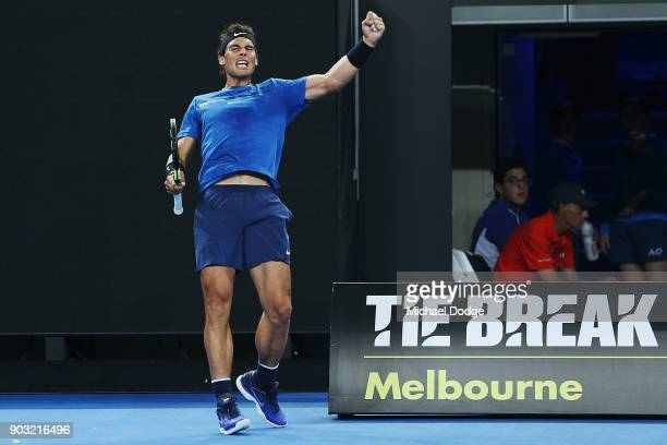Rafael Nadal of Spain hits a backhand reacts during the Tie Break Tens ahead of the 2018 Australian Open at Margaret Court Arena on January 10 2018...