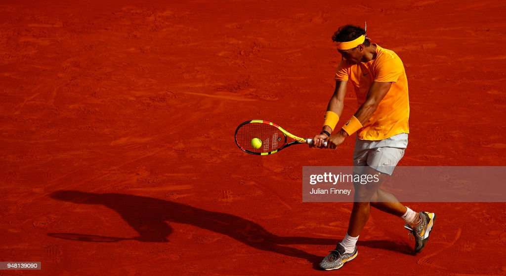 Rafael Nadal of Spain hits a backhand return during his Mens Singles match against Aljaz Bedene of Slovenia at Monte-Carlo Sporting Club on April 18, 2018 in Monte-Carlo, Monaco.
