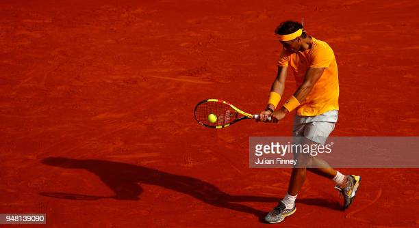 Rafael Nadal of Spain hits a backhand return during his Mens Singles match against Aljaz Bedene of Slovenia at MonteCarlo Sporting Club on April 18...