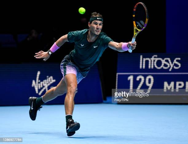 Rafael Nadal of Spain hits a forehand against Daniil Medvedev of Russia during Day 7 of the Nitto ATP World Tour Finals at The O2 Arena on November...