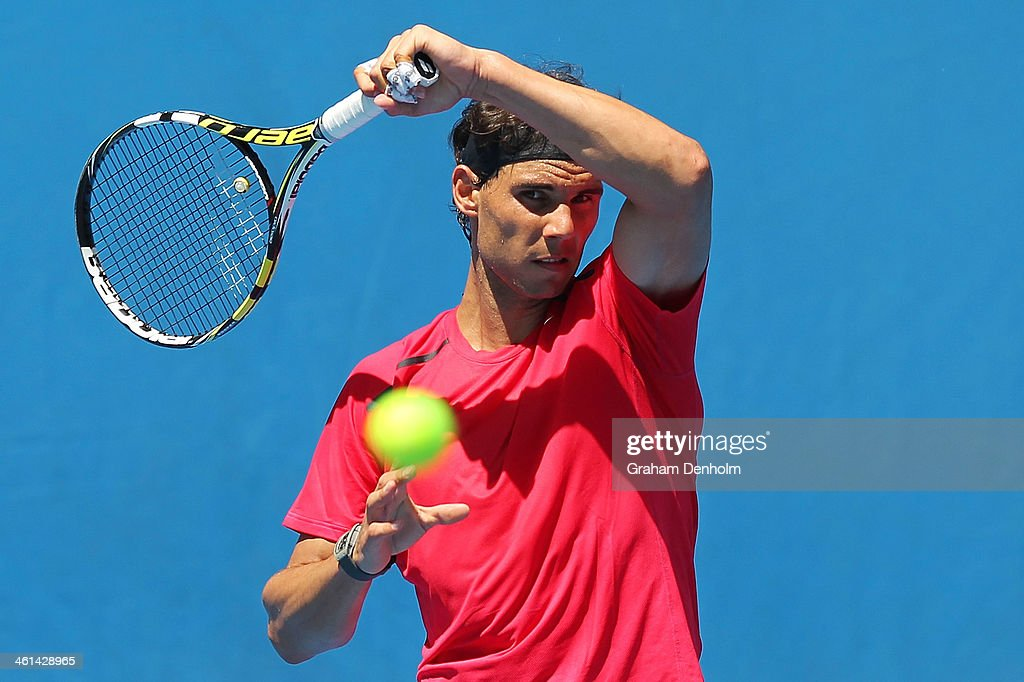 Rafael Nadal of Spain hits a forehand during a practice session ahead of the 2014 Australian Open at Melbourne Park on January 9, 2014 in Melbourne, Australia.