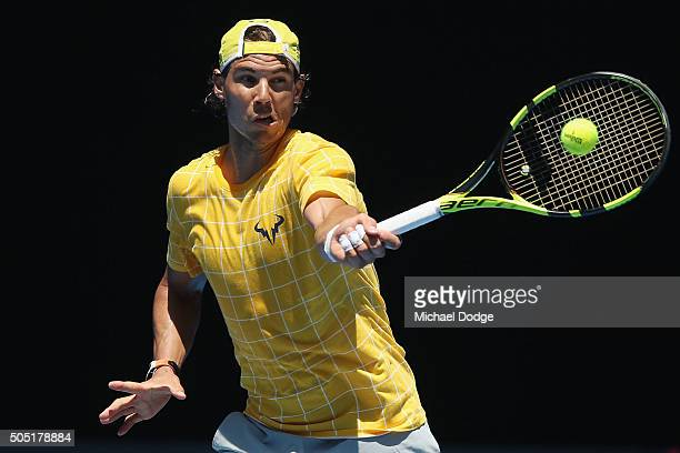 Rafael Nadal of Spain hits a forehand during a practice session ahead of the 2016 Australian Open at Melbourne Park on January 16 2016 in Melbourne...