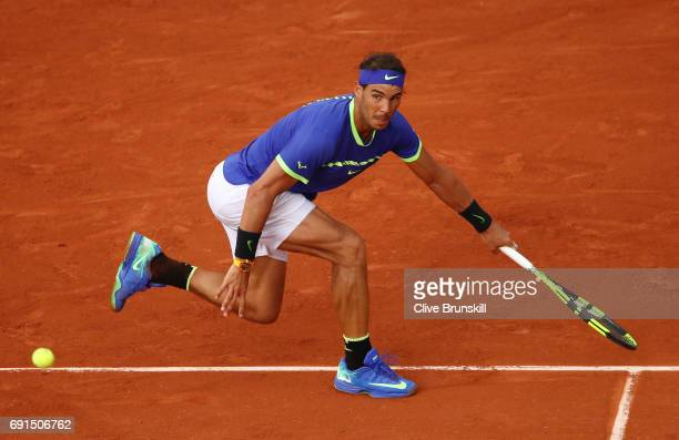 Rafael Nadal of Spain hits a forehand during the men's singles third round match against Nikoloz Basilashvili of Georgia on day six of the 2017...