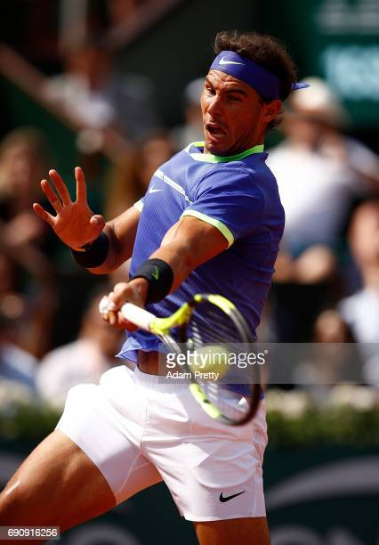 Rafael Nadal of Spain hits a forehand during the second roun match against Robin Haase of The Netherlands on day four of the 2017 French Open at...
