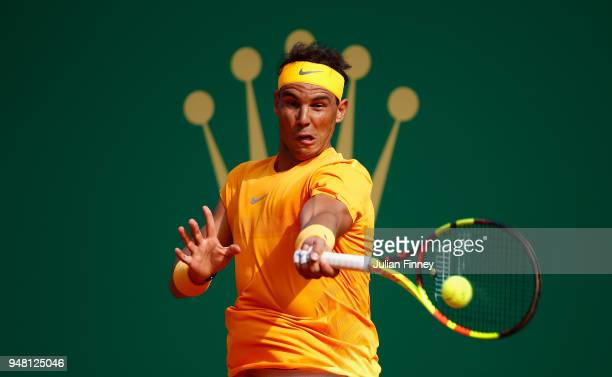 Rafael Nadal of Spain hits a forehand return during his Mens Singles match against Aljaz Bedene of Slovenia at MonteCarlo Sporting Club on April 18...