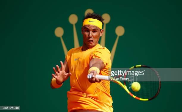 Rafael Nadal of Spain hits a forehand return during his Mens Singles match against Aljaz Bedene of Slovenia at MonteCarlo Sporting Club on April 18...
