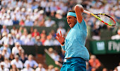 paris france rafael nadal spain hits