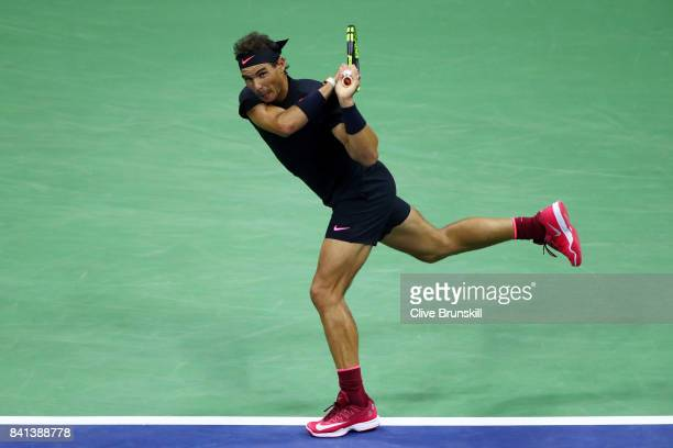 Rafael Nadal of Spain hits a return shot against Taro Daniel of Japan in their second round Men's Singles match on Day Four of the 2017 US Open at...