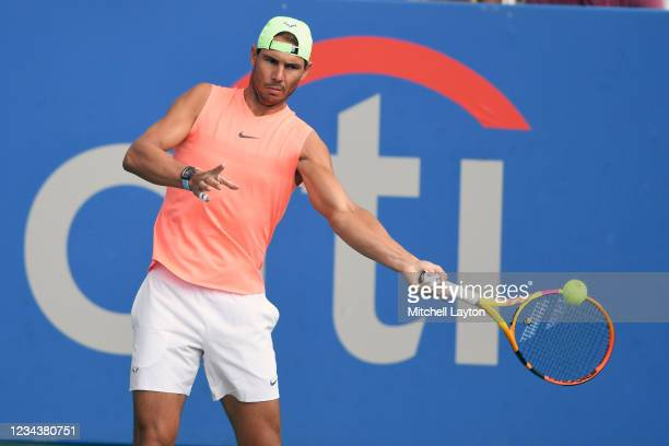 Rafael Nadal of Spain hits the ball during a practice session on Day 2 at Rock Creek Tennis Center on August 1, 2021 in Washington, DC.