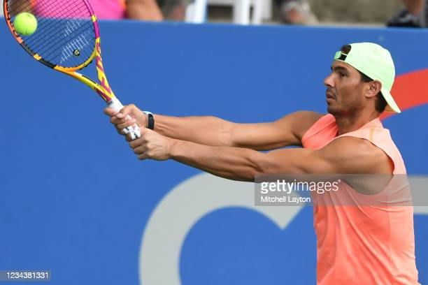 Rafael Nadal of Spain hits the ball during a practice session on Day 2 of Citi Open at Rock Creek Tennis Center on August 1, 2021 in Washington, DC.