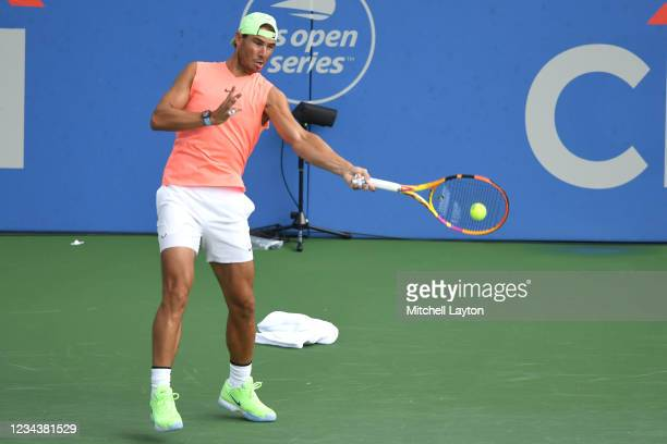 Rafael Nadal of Spain hits the ball during a practice session on Day 2 of the Citi Open at Rock Creek Tennis Center on August 1, 2021 in Washington,...