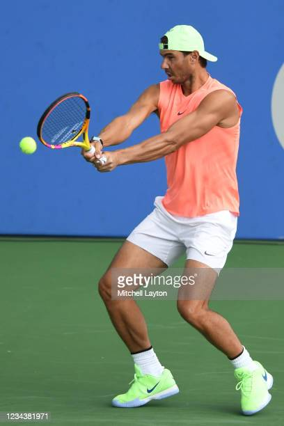 Rafael Nadal of Spain hits the ball during a practice session on Day 2 during the Citi Open at Rock Creek Tennis Center on August 1, 2021 in...