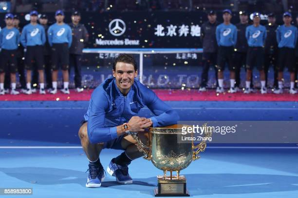 Rafael Nadal of Spain hold the winners trophy after winning the Men's Singles final against Nick Kyrgios of Australia on day nine of the 2017 China...