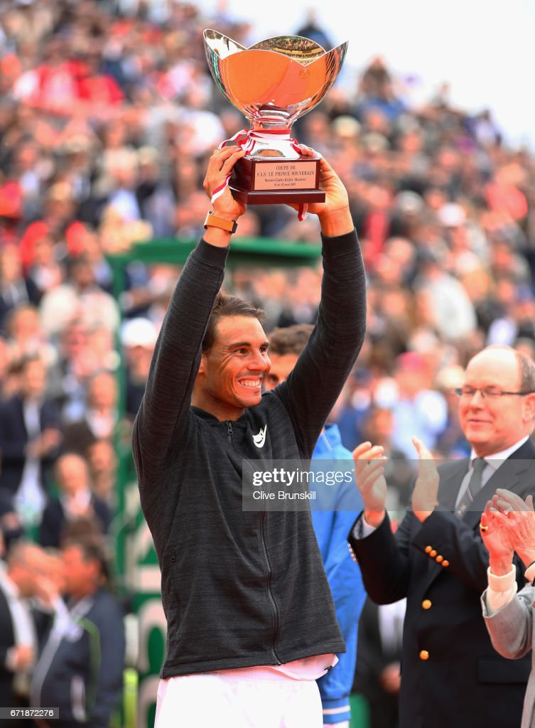 Rafael Nadal of Spain holds aloft his winners trophy after his straight set victory against Albert Ramos-Vinolas of Spain in the final on day eight of the Monte Carlo Rolex Masters at Monte-Carlo Sporting Club on April 23, 2017 in Monte-Carlo, Monaco.