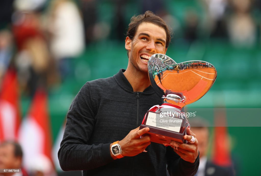 Rafael Nadal of Spain holds his winners trophy after his straight set victory against Albert Ramos-Vinolas of Spain in the final on day eight of the Monte Carlo Rolex Masters at Monte-Carlo Sporting Club on April 23, 2017 in Monte-Carlo, Monaco.