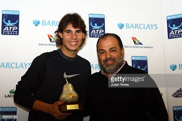Rafael Nadal of Spain holds the Acapulco trophy that he won in 2005 during the Barclays ATP World Tour Finals at the O2 Arena on November 23, 2009 in...