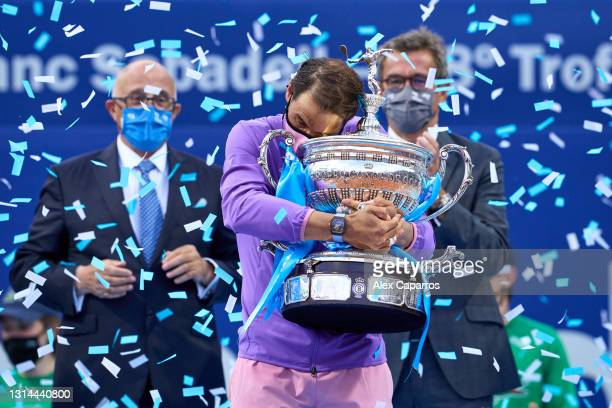 Rafael Nadal of Spain holds the trophy after his victory against Stefanos Tsitsipas of Greece in their final match during day seven of the Barcelona...