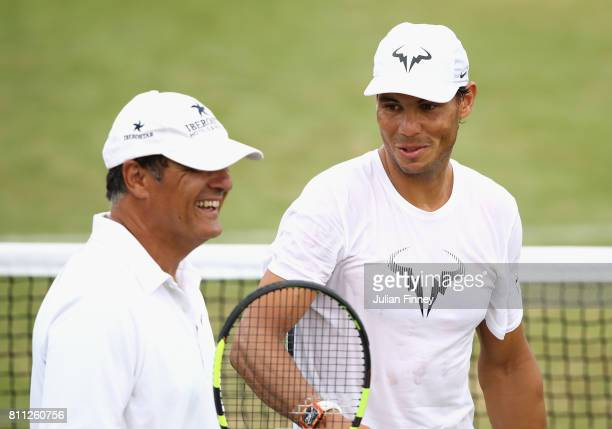 Rafael Nadal of Spain in a training session with coach and uncle Toni Nadal at Wimbledon on July 9 2017 in London England