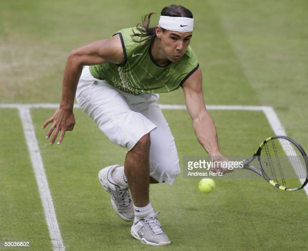Rafael Nadal of Spain in action against Alexander Waske of Germany during the Gerry Weber Open on June 8 2005 in Halle Germany