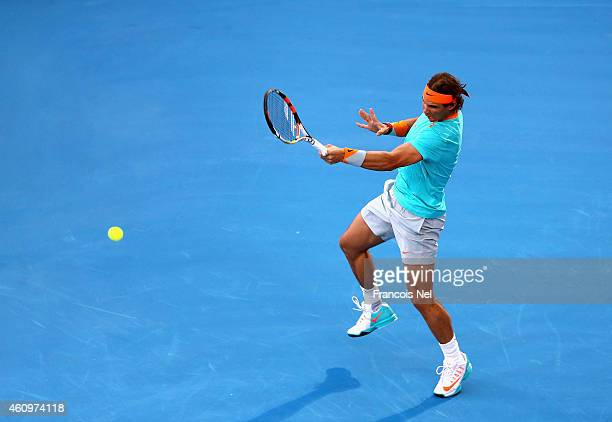 Rafael Nadal of Spain in action against Andy Murray of Great Britain during the semi final match of the Mubadala World Tennis Championship at Zayed...