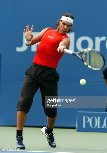 Rafael Nadal of Spain in action against Bobby Reynolds of the USA during their first round match at the US Open at the USTA National Tennis Center in...