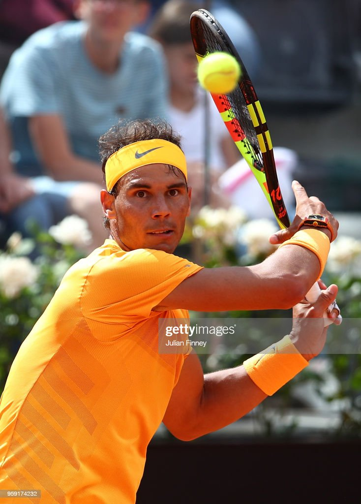 Rafael Nadal of Spain in action against Damir Dzumhur Bosnia during day four of the Internazionali BNL d'Italia 2018 tennis at Foro Italico on May 16, 2018 in Rome, Italy.