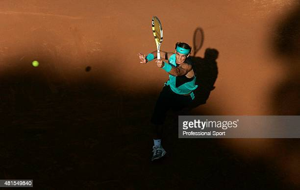 Rafael Nadal of Spain in action against Daniele Bracciali of Italy in their second round match, during day three of the ATP Masters Series at the...