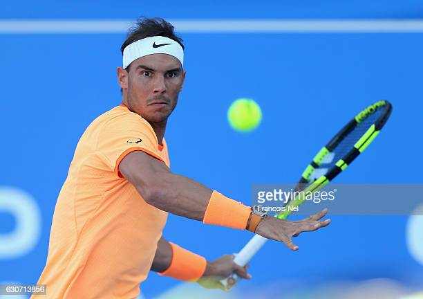 Rafael Nadal of Spain in action against David Goffin of Belgium during the Final match of the Mubadala World Tennis Championship at Zayed Sport City...