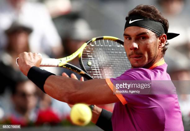 Rafael Nadal of Spain in action against Dominic Thiem of Australia during the ATP Masters 1000 Open men's final tennis match within the Mutua Madrid...
