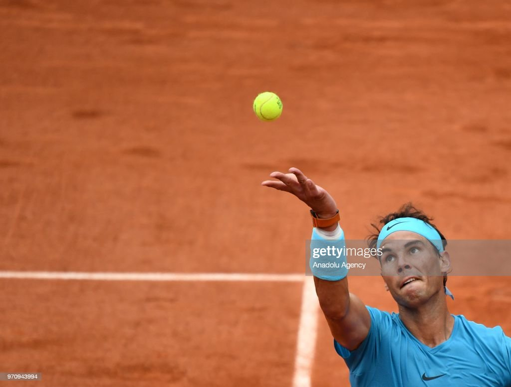 Rafael Nadal of Spain in action against Dominic Thiem (not seen) of Austria during their final match at the French Open tennis tournament at Roland Garros Stadium in Paris, France on June 10, 2018.