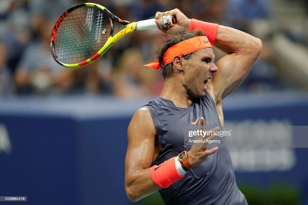 Rafael Nadal of Spain in action against Dominic Thiem (not seen) of Austria during US Open 2018 tournament in New York, United States on September 5, 2018.