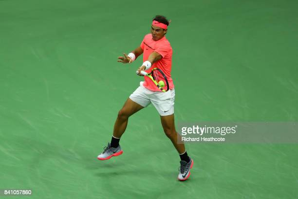 Rafael Nadal of Spain in action against Dusan Lajovic of Serbia Montenegro during their first round Men's Singles match on Day Two of the 2017 US...