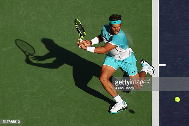 Rafael Nadal of Spain in action against Fernando Verdasco of Spain during day nine of the BNP Paribas Open at Indian Wells Tennis Garden on March 15...