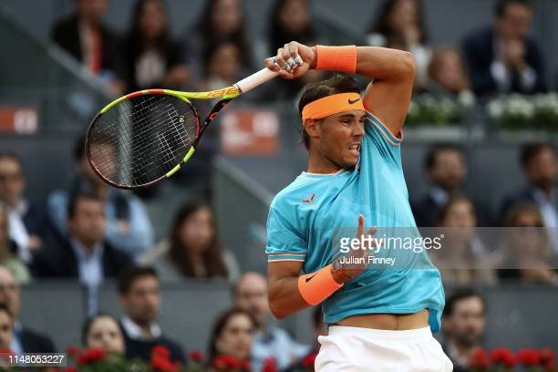 Rafael Nadal of Spain in action against Frances Tiafoe of USA during day six of the Mutua Madrid Open at La Caja Magica on May 09 2019 in Madrid Spain
