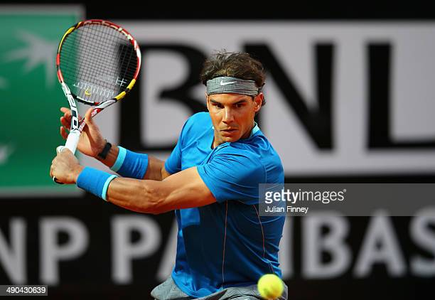 Rafael Nadal of Spain in action against Gilles Simon of France during day four of the Internazionali BNL d'Italia tennis 2014 on May 14 2014 in Rome...