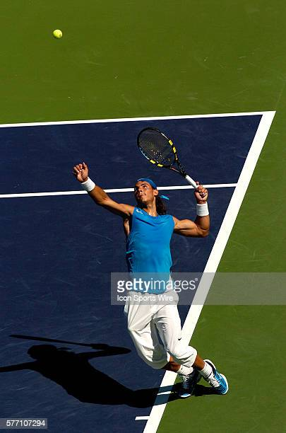 Rafael Nadal of Spain in action against Juan Ignacio Chela of Argentina during the Pacific Life Open at the Indian Wells Tennis Garden in Indian...