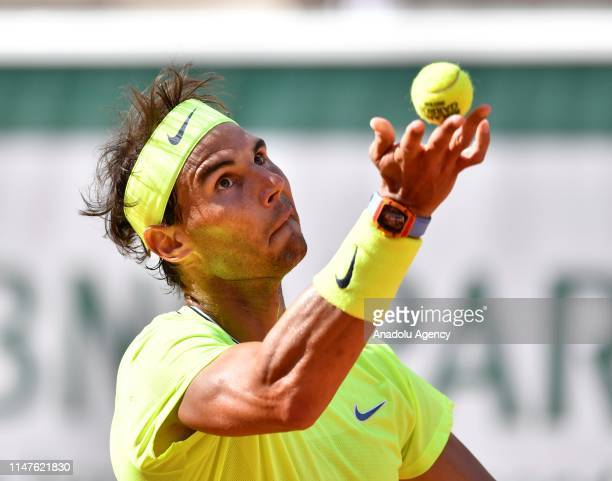 Rafael Nadal of Spain in action against Juan Ignacio Londero of Argentina during their fourth round match at the French Open tennis tournament at...