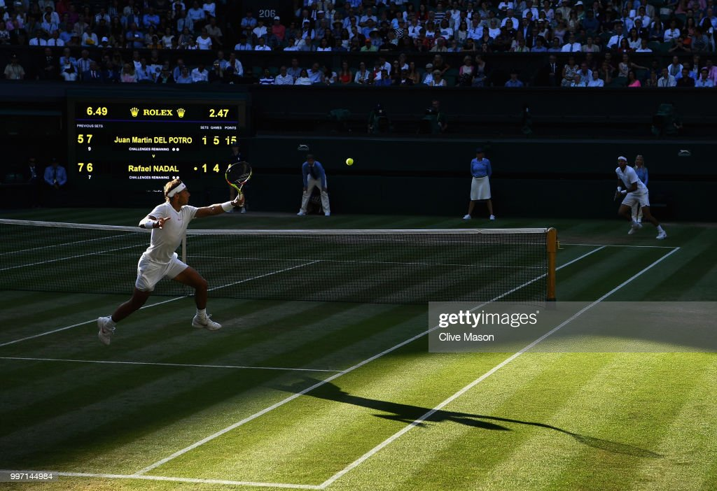 Rafael Nadal of Spain in action against Juan Martin Del Potro of Argentina during their Men's Singles Quarter-Finals match on day 9 of the Wimbledon Lawn Tennis Championships at All England Lawn Tennis and Croquet Club on July 11, 2018 in London, England.