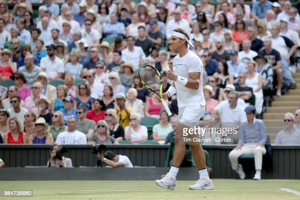 Rafael Nadal of Spain in action against Karen Khachanov of Russia in the Gentlemen's Singles competition on Centre Court during the Wimbledon Lawn...