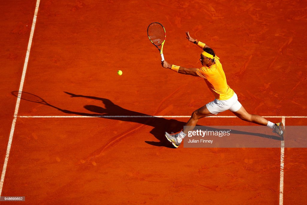 Rafael Nadal of Spain in action against Karen Khachanov of Russia during the mens singles 3rd round match on day five of the Rolex Monte-Carlo Masters at Monte-Carlo Sporting Club on April 19, 2018 in Monte-Carlo, Monaco.
