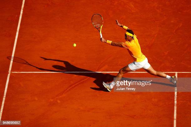 Rafael Nadal of Spain in action against Karen Khachanov of Russia during the mens singles 3rd round match on day five of the Rolex MonteCarlo Masters...