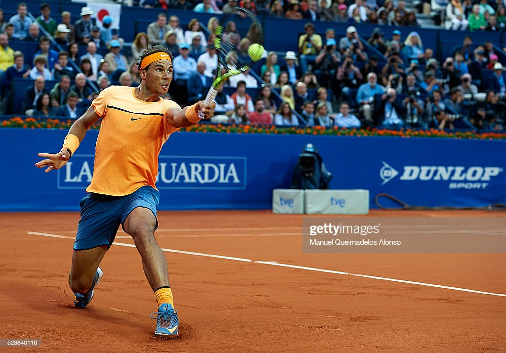 Rafael Nadal of Spain in action against Kei Nishikori of Japan during day seven of the Barcelona Open Banc Sabadell at the Real Club de Tenis Barcelona on April 24, 2016 in Barcelona, Spain.