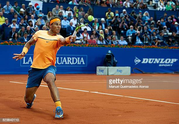 Rafael Nadal of Spain in action against Kei Nishikori of Japan during day seven of the Barcelona Open Banc Sabadell at the Real Club de Tenis...