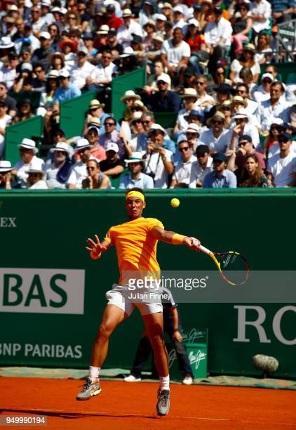 Rafael Nadal of Spain in action against Kei Nishikori of Japan during day eight of ATP Masters Series Monte Carlo Rolex Masters at MonteCarlo...