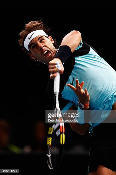 Rafael Nadal of Spain in action against Kevin Anderson of South Africa during Day 4 of the BNP Paribas Masters held at AccorHotels Arena on November...