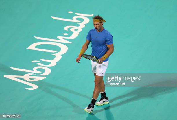 Rafael Nadal of Spain in action against Kevin Anderson of South Africa during his men's singles match on day two of the Mubadala World Tennis...