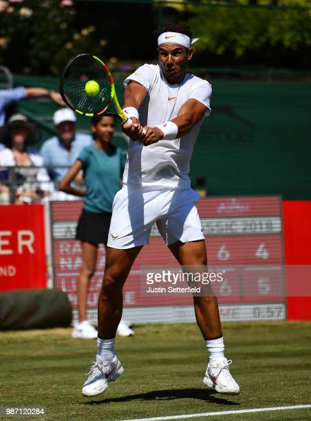 Rafael Nadal of Spain in action against Lucas Pouille of France during the Aspall Tennis Classic at Hurlingham on June 29 2018 in London England