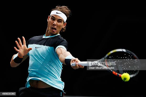 Rafael Nadal of Spain in action against Lukas Rosol of Czech Republic during Day 3 of the BNP Paribas Masters held at AccorHotels Arena on November...