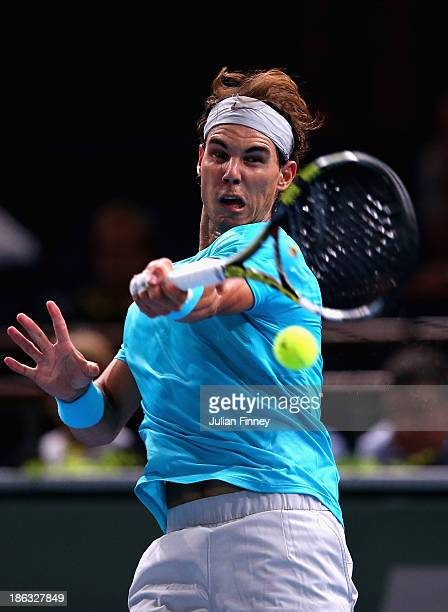 Rafael Nadal of Spain in action against Marcel Granollers of Spain during day three of the BNP Paribas Masters at Palais Omnisports de Bercy on...