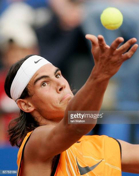 Rafael Nadal of Spain in action against Mikhail Youzhny of Russia during the first round of the ATP Telecom Italia Tennis Masters at the Foro Italico...